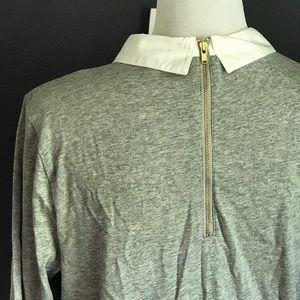 J. Crew Tops - J.Crew Grey Peter Pan Collar Long Sleeve Top Sz L